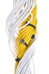 Electrical yellow and white cables isolated on white background