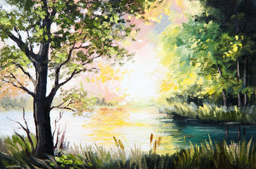 Oil painting landscape - lake in the forest