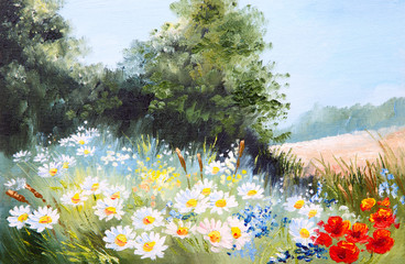 Oil painting landscape - meadow of daisies