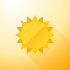 Yellow symbol sun with long shadows