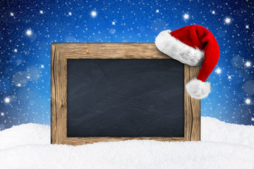 XMAS blackboard in snow