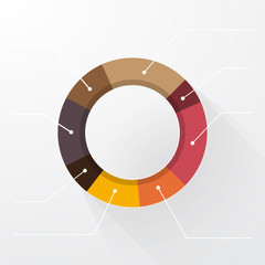 editable pie chart in pastel colors with long shadows and labels