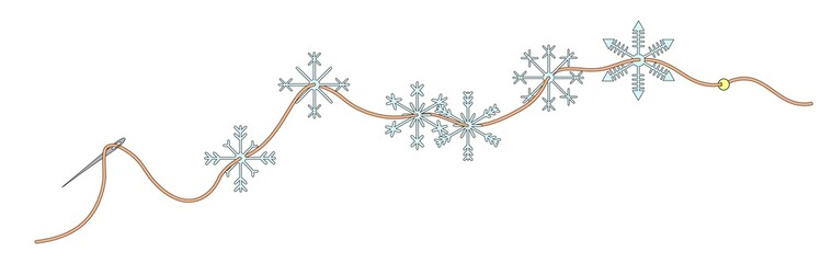 Snowflakes on a thread with white background