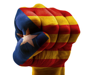 Catalonia flag on fist isolated on white