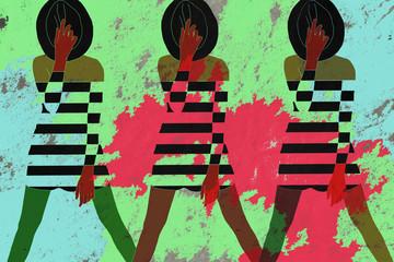 Model in striped dress, cool