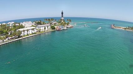 Coastal lighthouse in Florida flyover