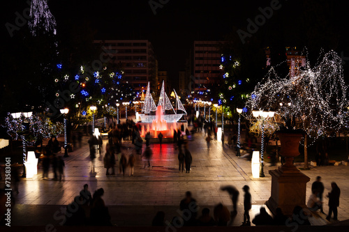 Staande foto Athene Syntagma Square during Christmas night in Athens