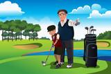 Grandfather teaching his grandson playing golf