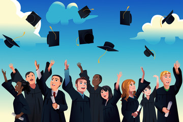 Students  celebrating their graduation