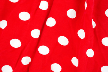 Red White Dots Fabric Wrinkled