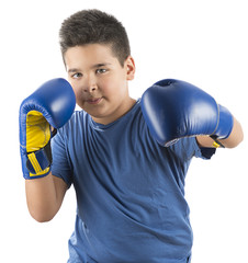 Little boy boxing.
