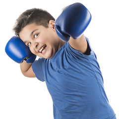 Cute child boxing isolated on white background.