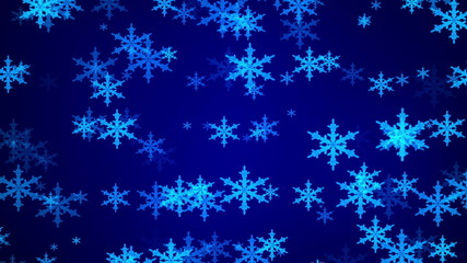 snowflake, abstract motion, blue background, loop
