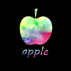 sign watercolor apple