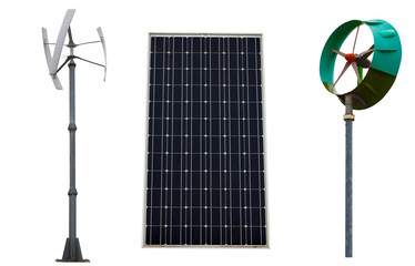 Small wind turbines and solar panel.