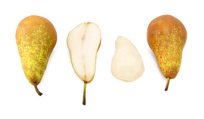 Conference pears - whole, halved and peeled