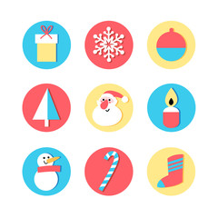set of icons for the New Year