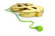 euro sign green power plug