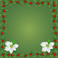 Christmas Vector-Green Holly and Poinsettia