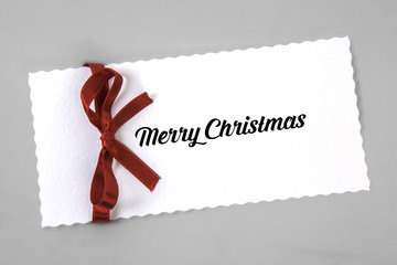 Merry Christmas card with ribbon