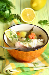 Fish soup from sea perch.