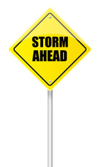 Storm ahead road sign
