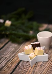 Dark and White Chocolate Peppermint Fudge