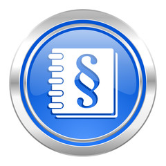 law icon, blue button