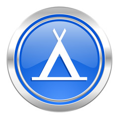 camp icon, blue button