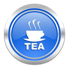 tea icon, blue button, hot cup of tea sign