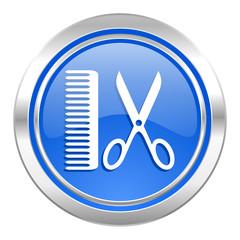 barber icon, blue button