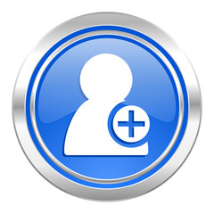 add contact icon, blue button