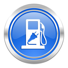 fuel icon, blue button, hybrid fuel sign