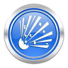 bomb icon, blue button