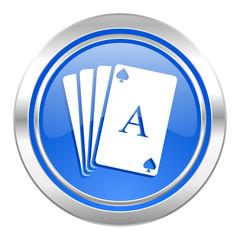 casino icon, blue button, hazard sign