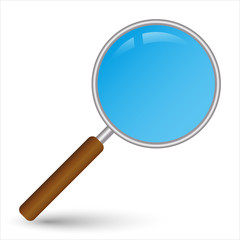 vector realistic silver magnifier - search icon