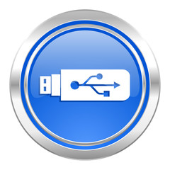 usb icon, blue button, flash memory sign