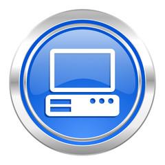 computer icon, blue button, pc sign