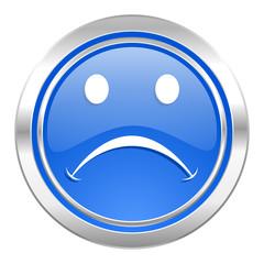 cry icon, blue button