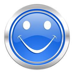 smile icon, blue button