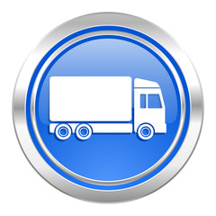 delivery icon, blue button, truck sign