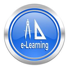 learning icon, blue button