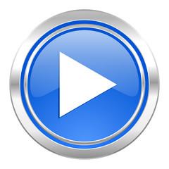 play icon, blue button