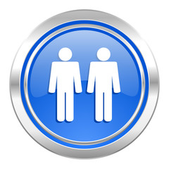 couple icon, blue button, people sign, team symbol