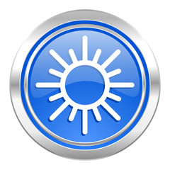 sun icon, blue button, waether forecast sign