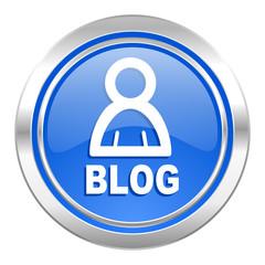 blog icon, blue button