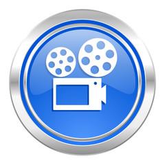 movie icon, blue button, cinema sign