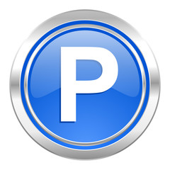 parking icon, blue button