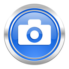 camera icon, blue button