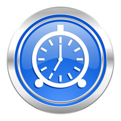 alarm icon, blue button, alarm clock sign